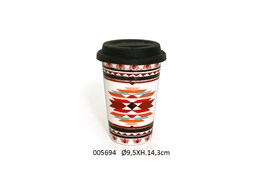 MUG TRAVEL D.9.5X14.3CM 400ML FOLK